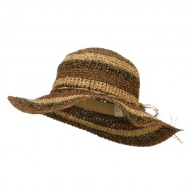 Multi Striped Flat Brim Sun Hat