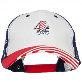 4th of July Embroidered Constructed USA Flag Cap