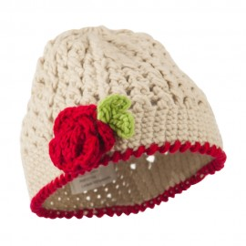 Girl's Flower and Leaf Knit Cap - Beige
