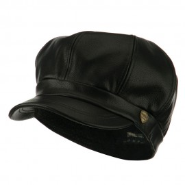 Faux Leather Spitfire Hat - Black