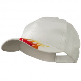 Brushed Cotton Embroidered Flame Logo Cap - White