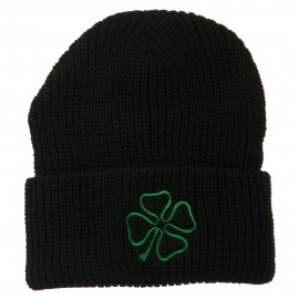 Four Leaf Clover Embroidered Watch Beanie - Black