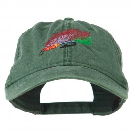 Fishing Fly Embroidered Washed Cap - Dark Green