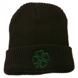 Four Leaf Clover Embroidered Watch Beanie