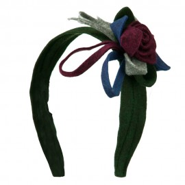 Felt Multicolor Headband with Flower - Green