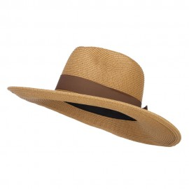 UPF 50+ Fedora Crown Wide Brim Hat - Tan Tweed