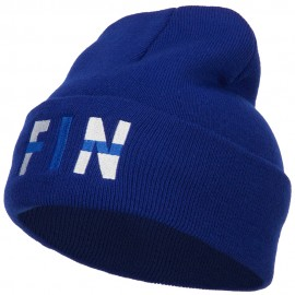 Finland FIN Flag Embroidered Long Beanie