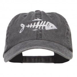 Fish Bone Embroidered Washed Cap