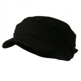 Folded Plain Army Cap - Black