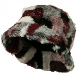 Faux Fur Pattern Bucket Hat - Red Burgundy