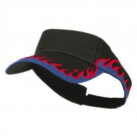 Cotton Twill Flame Visor - Black Royal Red