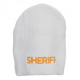 Big Size Sheriff Embroidered Ribbed Beanie