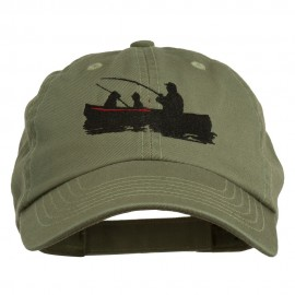 Fishing in Boat Embroidered Pet Spun Cap - Olive