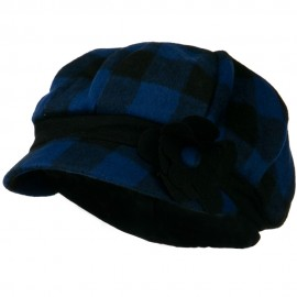 Flower Short Brim Newsboy Hat - Blue