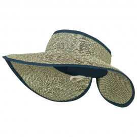 Women's UPF 50+ Tweed Roll Up Visor - Navy