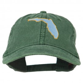 Florida State Map Embroidered Washed Cap