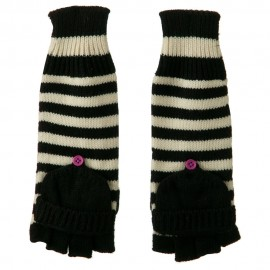 11 Inches Striped Fingerless Flip Top Glove - Black White