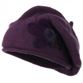 Ladies Flower Feather Beret - Purple