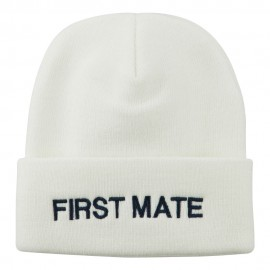 First Mate Embroidered Long Beanie - White