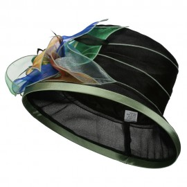 Multi Colored Feather Flower Organza Derby Hat - Black