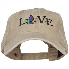 Mardi Gras Love with Fleur de Lis Embroidered Washed Cotton Cap