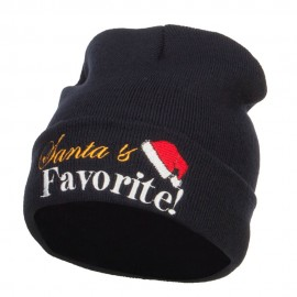 Santa's Favorite Embroidered Long Beanie