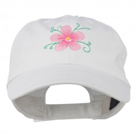 Single Flower Embroidered Low Profile Pet Spun Washed Cap