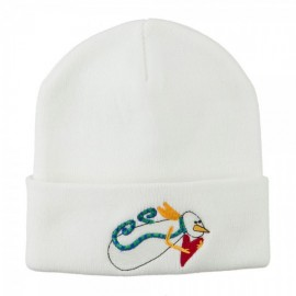 Flying Snowman Heart Embroidered Beanie