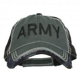Army Embroidered Cotton Frayed Bill Cap