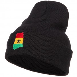 Ghana Flag Map Embroidered Long Beanie