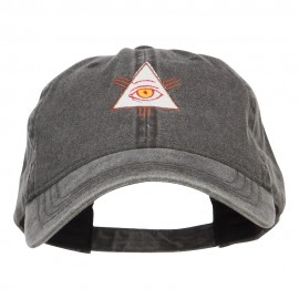 All Seeing Eye Embroidered Washed Cap - Black