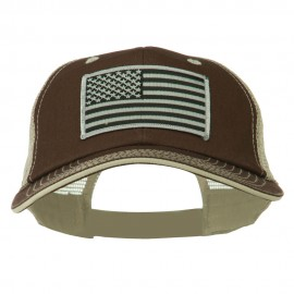 Grey American Flag Patched Big Size Washed Mesh Cap - Brown Beige