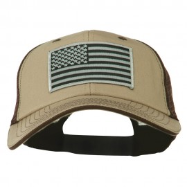 Grey American Flag Patched Big Size Washed Mesh Cap - Khaki Brown