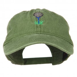Golf Ball on Golf Tee Embroidered Washed Cotton Cap