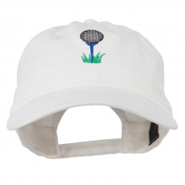 Golf Ball on Golf Tee Embroidered Washed Cotton Cap - White