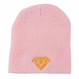 Gold Diamond Embroidered Youth Short Beanie - Light Pink