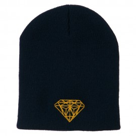 Gold Diamond Embroidered Youth Short Beanie
