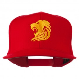 Gold Lion Embroidered Wool Snapback Cap - Red