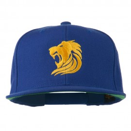 Gold Lion Embroidered Wool Snapback Cap - Royal
