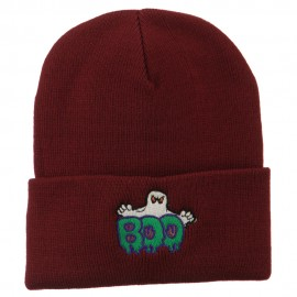 Halloween Ghost Boo Embroidered Long Beanie