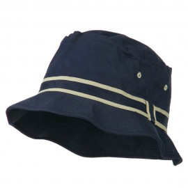 Striped Hat Band Fisherman Bucket Hat - Navy Khaki