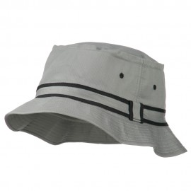 Striped Hat Band Fisherman Bucket Hat - Grey Black