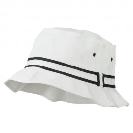 Striped Hat Band Fisherman Bucket Hat - White Black