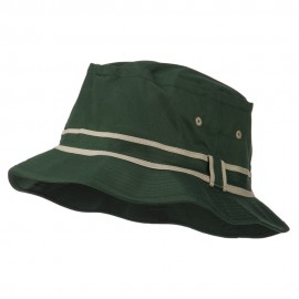 Striped Hat Band Fisherman Bucket Hat - Green Khaki