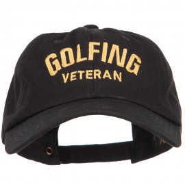 Golfing Veteran Embroidered Washed Cap