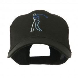 Male Golfer Outline Embroidered Cap - Black
