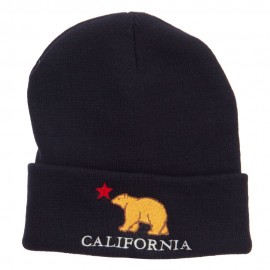 California Bear Embroidered Cuff Beanie