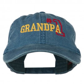 Number 1 Grandpa Outline Embroidered Washed Cotton Cap - Navy