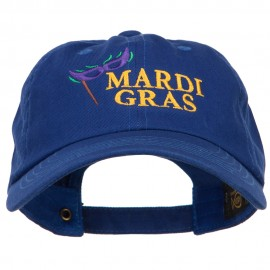 Mardi Gras with Mask Embroidered Washed Cap