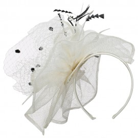 Ruffled Feather Fascinator With Netting